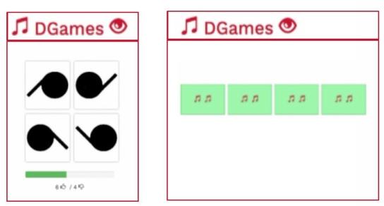 Beispiel visuelles Spiel (r) und akustisches Spiel (l)
