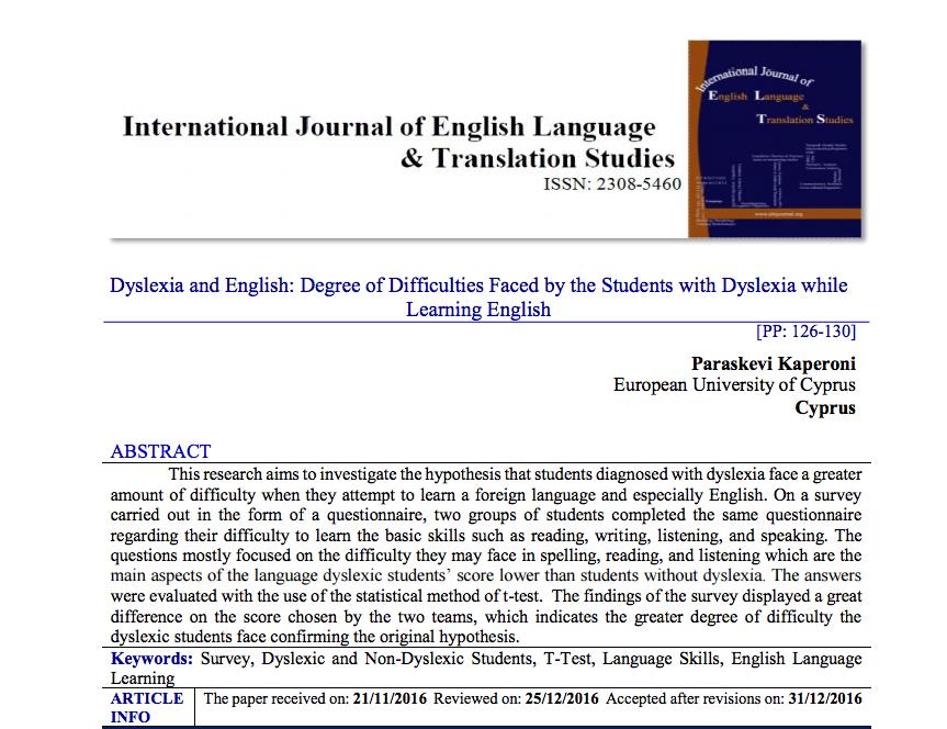 Das Erlernen von Englisch alsFremdsprache